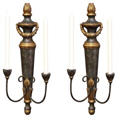 Pair of Italian Carved and Metal Gilt and Painted Two-Light Wall Candle Sconces