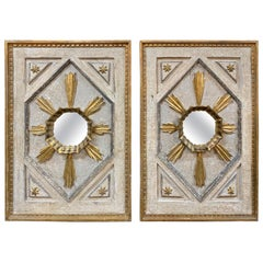 Pair of Italian Carved and Painted Panels with Mirrored Centers