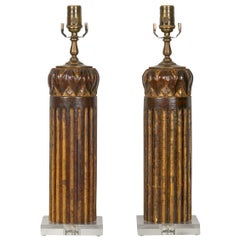 Pair of Italian Carved and Painted Walnut 1800s Fragment Made into Table Lamps