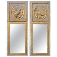 Pair of Italian Carved and Parcel-Gilt Trumeau Mirrors with Birds