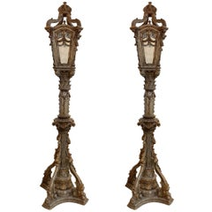 Pair of Italian Carved and Parcel Giltwood Torchiere Floor Lanterns