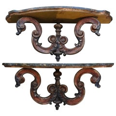 Pair of Italian Carved and Polychrome Wall Brackets