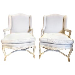 Pair of Italian Carved and White Washed Bergères