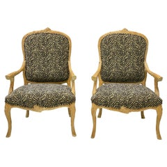 Pair of Italian Carved Faux Bois Bergère Chairs