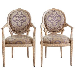 Pair of Italian Carved Faux Bois Fauteuil Armchairs