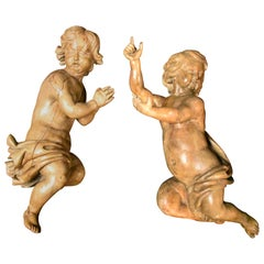 Pair of Italian Carved Fruitwood Figures of Putti, 18th Century