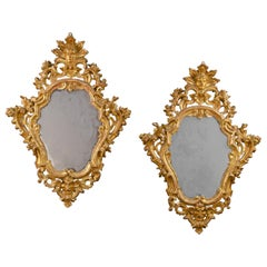 Pair of Italian Carved Gilded Mirrors, Italy, 18th Century Rococò