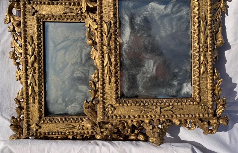 Pair of Italian Carved Gilded Mirrors, Italy, 18th Century, Rome Venice Glass For Sale 5