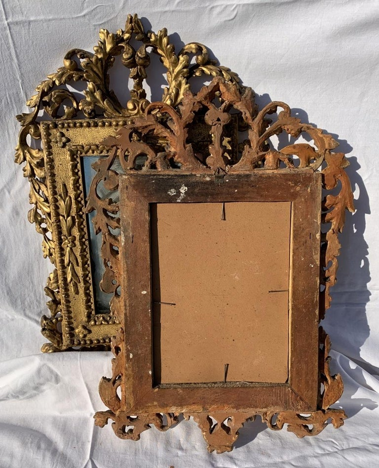 Pair of Italian Carved Gilded Mirrors, Italy, 18th Century, Rome Venice Glass For Sale 6