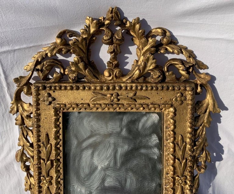 Louis XVI Pair of Italian Carved Gilded Mirrors, Italy, 18th Century, Rome Venice Glass For Sale