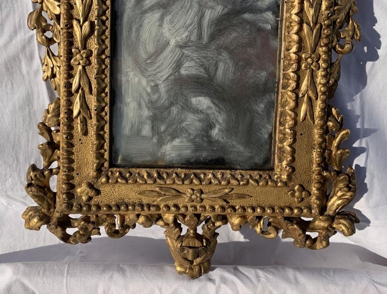 Gilt Pair of Italian Carved Gilded Mirrors, Italy, 18th Century, Rome Venice Glass For Sale