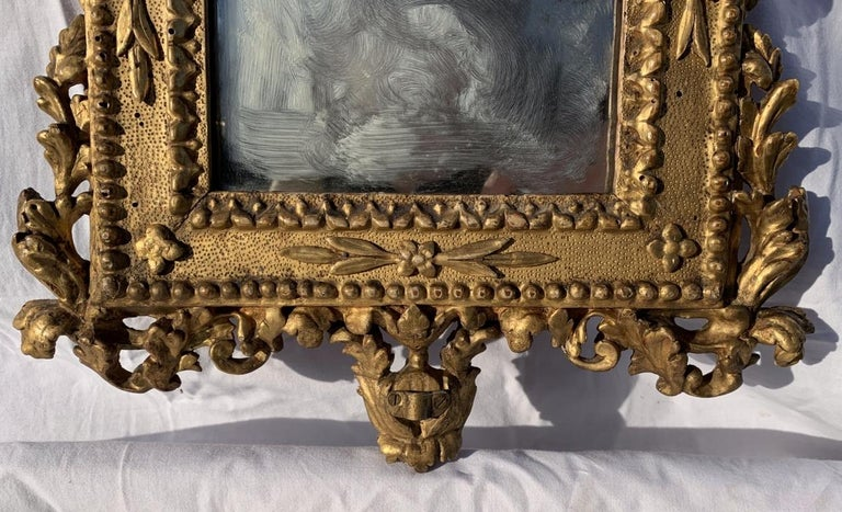 Giltwood Pair of Italian Carved Gilded Mirrors, Italy, 18th Century, Rome Venice Glass For Sale