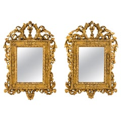 Pair of Italian Carved Gilded Mirrors, Italy, 18th Century, Rome Venice Glass