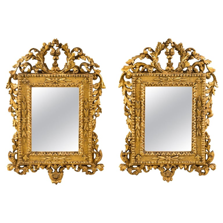 Pair of Italian Carved Gilded Mirrors, Italy, 18th Century, Rome Venice Glass For Sale