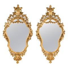 Pair of Italian Carved Gilded Wood Mirrors. Rome 18th Century, Venice Rococo