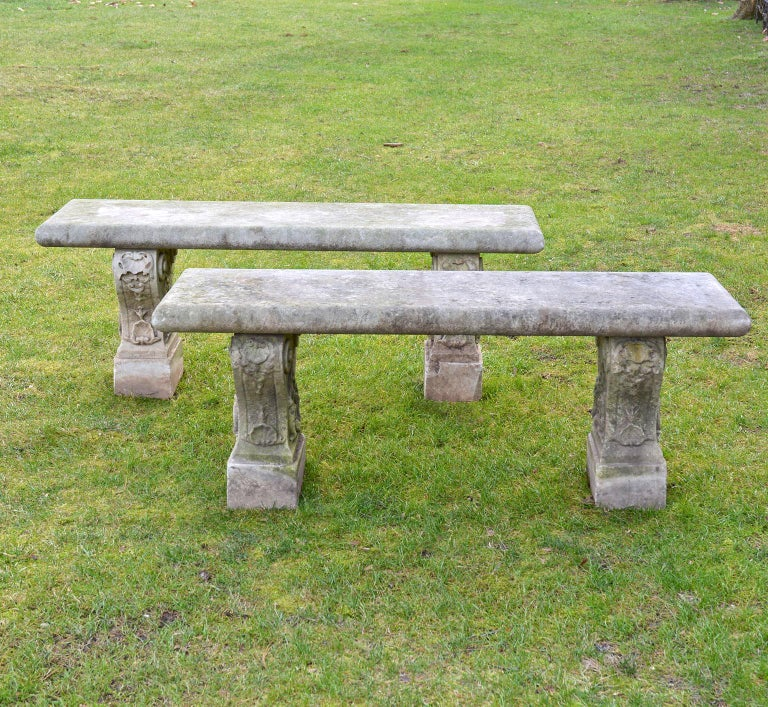 Neoclassical Pair of Italian Carved Marble Benches For Sale