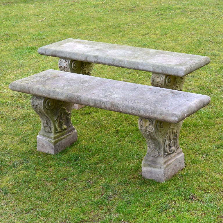 Pair of Italian Carved Marble Benches In Good Condition For Sale In Katonah, NY