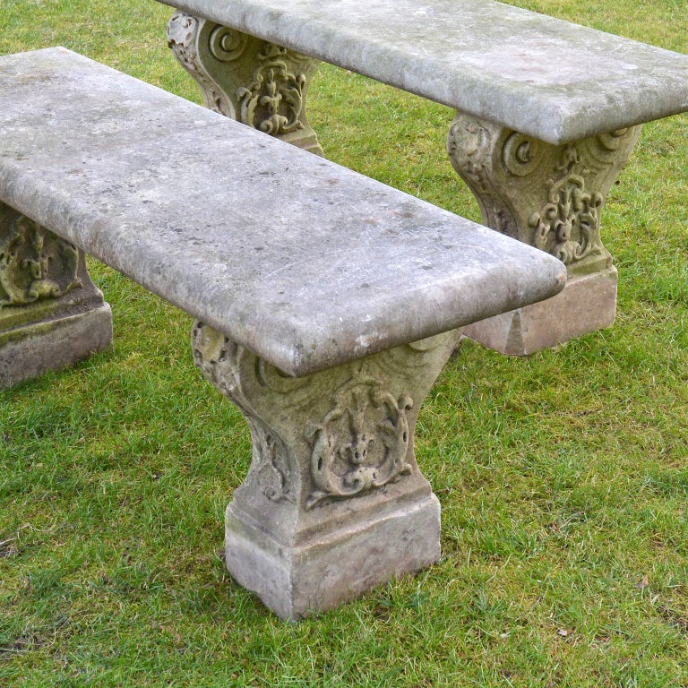 19th Century Pair of Italian Carved Marble Benches For Sale