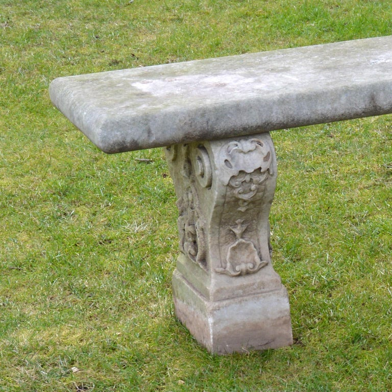Pair of Italian Carved Marble Benches For Sale 1