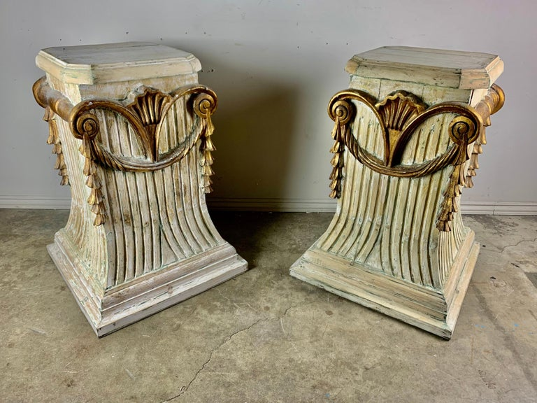 Pair of Italian Carved Painted and Parcel Gilt Pedestals For Sale 9