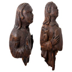 Pair of Italian Carved Pinewood Figures