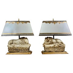 Pair of Italian Carved Stone Lion Lamps with Parchment Shades