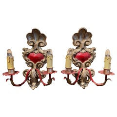 Pair of Italian Carved Wood and Metal Gilt and Silvered Two-Light Wall Sconces