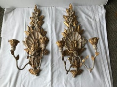 Pair of Italian Carved Wood and Metal Shell Motif Sconces