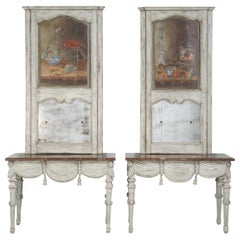 Pair of Italian Carved Wood and Painted Console Tables with Matching Trumeau's
