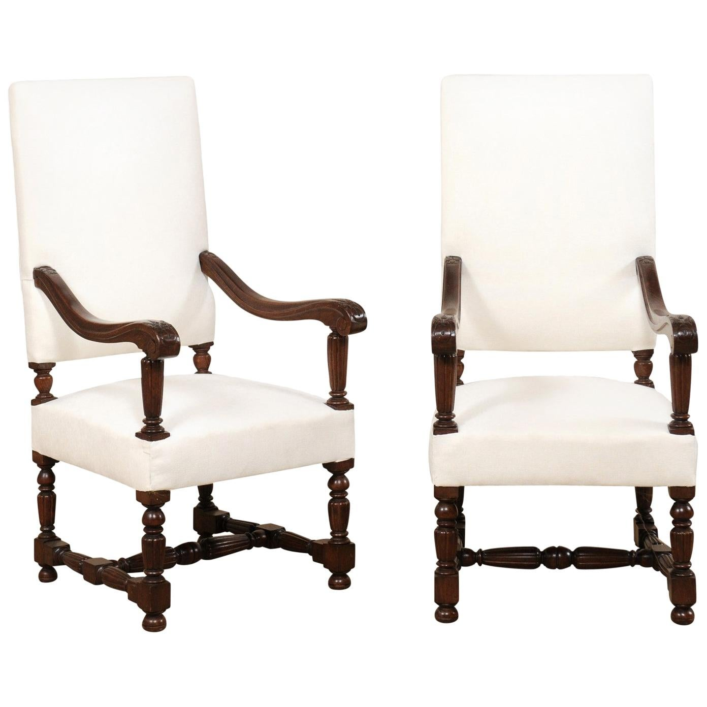 Pair of Italian Carved-Wood Armchairs with Newly Upholstered Seat and Back