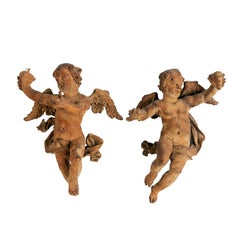 Pair of Italian Carved Wood Figures of Putti, Cherub, Angels, Late 18th Century