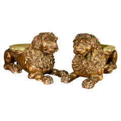 Pair of Italian Carved Wood Lions, 17th Century