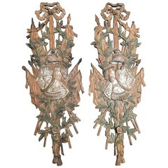 Pair of Italian Carved Wood Panels