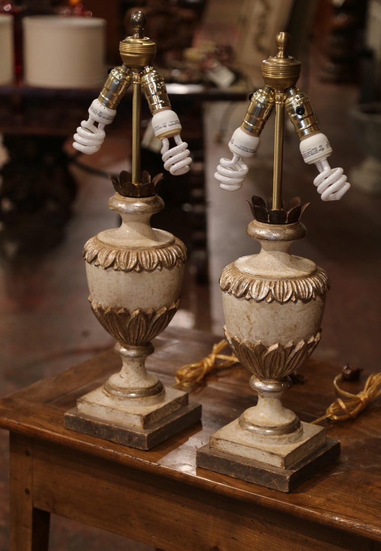 Pair Of Italian Carved Wood Polychrome And Painted Urns
