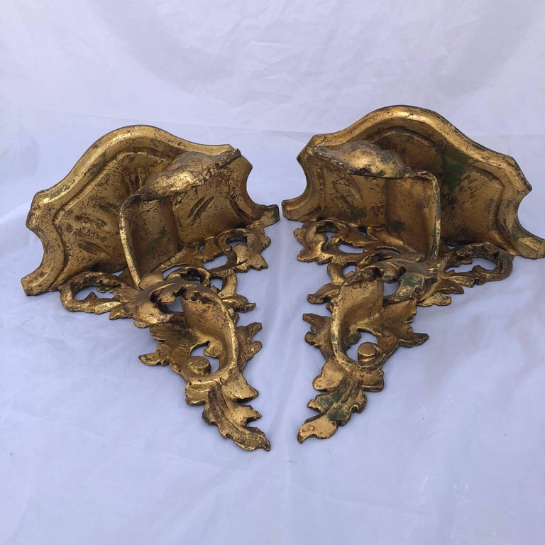 Pair of Italian Carved Wood Rococo Style Shelves or Brackets For Sale 4
