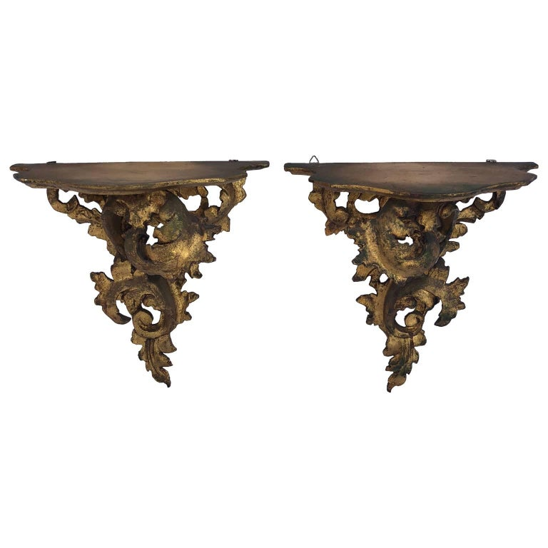 Hand-Crafted Pair of Italian Carved Wood Rococo Style Shelves or Brackets For Sale