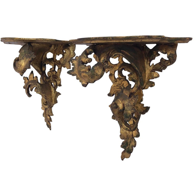 Pair of Italian Carved Wood Rococo Style Shelves or Brackets In Good Condition For Sale In Haddonfield, NJ