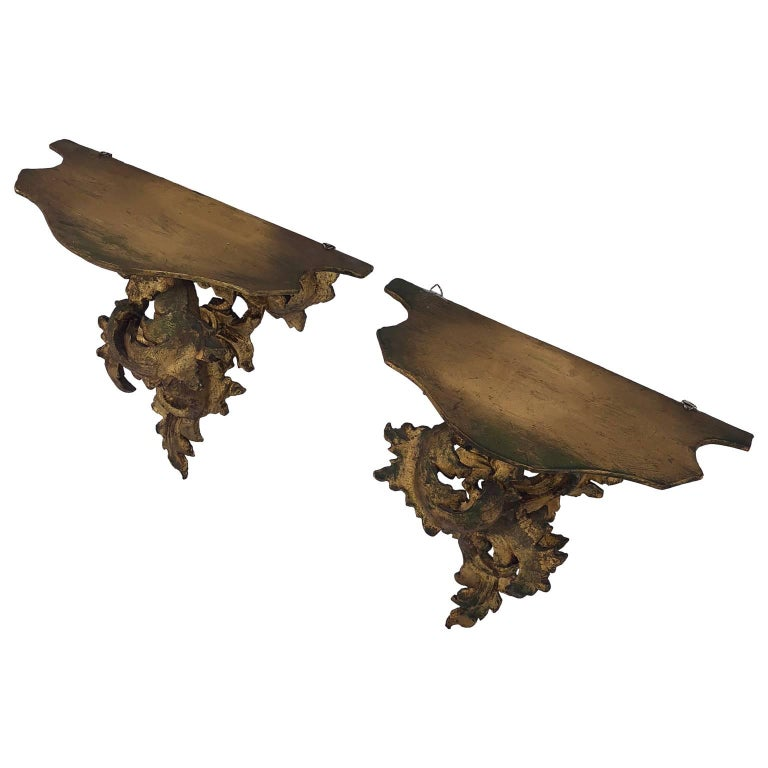 20th Century Pair of Italian Carved Wood Rococo Style Shelves or Brackets For Sale