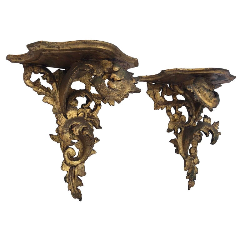 Giltwood Pair of Italian Carved Wood Rococo Style Shelves or Brackets For Sale