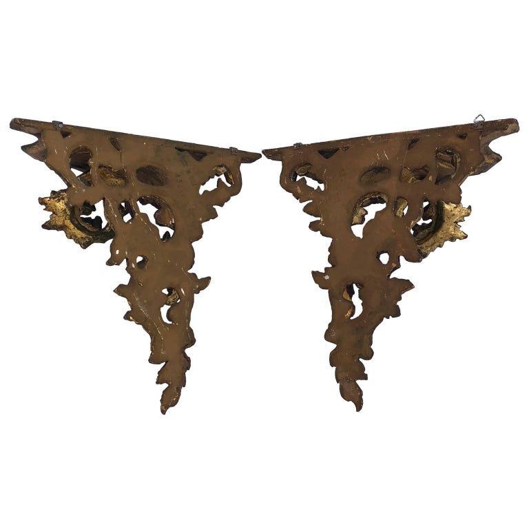 Pair of Italian Carved Wood Rococo Style Shelves or Brackets For Sale 1