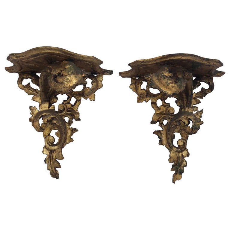 Pair of Italian Carved Wood Rococo Style Shelves or Brackets