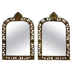 Pair of Italian Carved Wood Wall Mirrors
