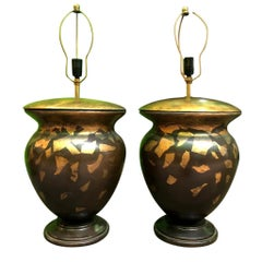 Pair of Italian Carved Wooden Lamps, 1920s