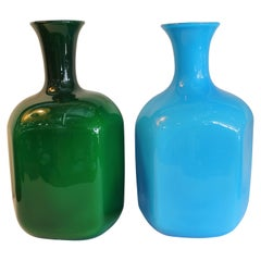 Pair of Murano Cased Glass Blue and Green Vases
