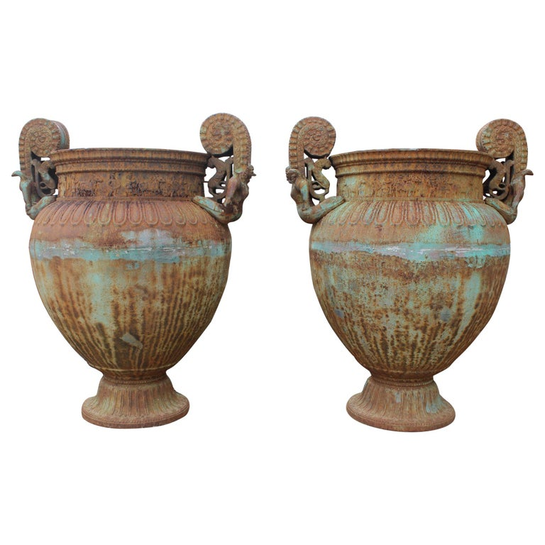 Pair of Italian Cast Iron Urns with Women and Lions Handles For Sale
