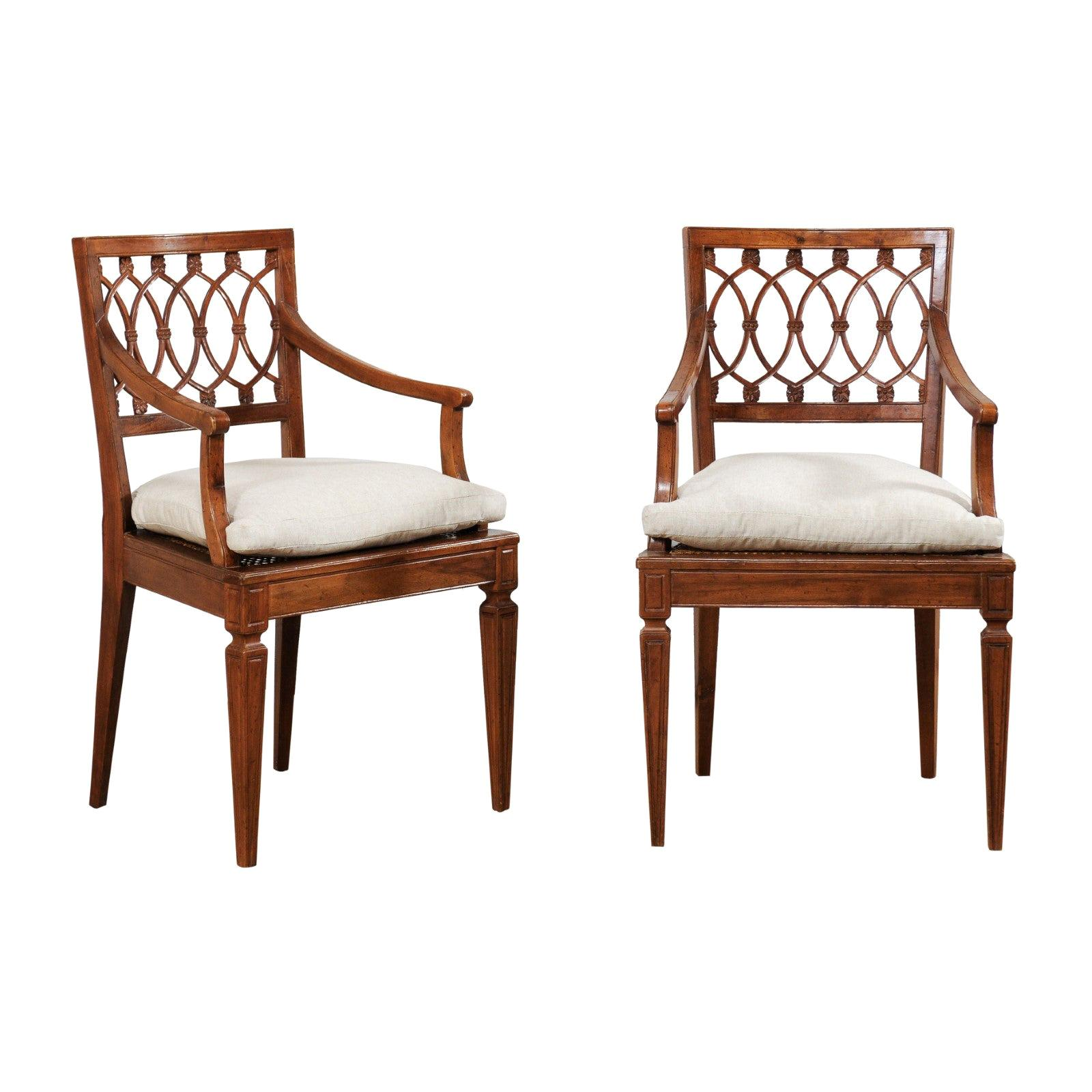 Pair of Italian Caved Wood Armchairs with Cane Seats, Mid-20th Century