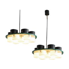 Pair of Italian Ceiling Lights with Six Shades, 1970s