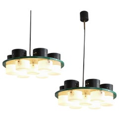 Pair of Italian Ceiling Lights with Six Shades