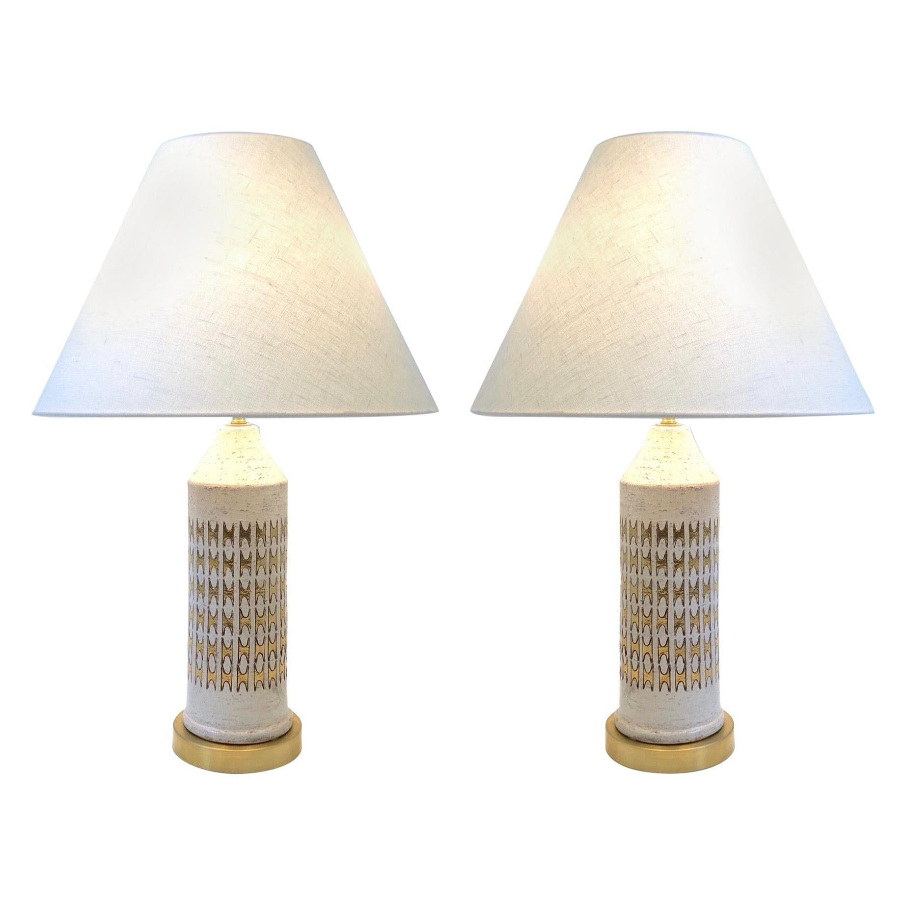 Pair of Italian Ceramic and Brass Table Lamps by Bitossi