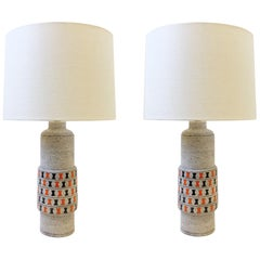 Pair of Italian Ceramic and Polish Brass Table Lamps by Bitossi